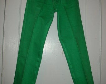 Vintage 80's Wrangler Jeans Green High Waisted Size 9 Long & Lean Boot Leg