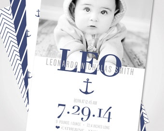 Nautical Baby Announcement / Custom Baby Announcement / Baby Announcement Card