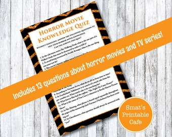 printable halloween party game horror movie trivia orange and black glitter chevron halloween - Halloween Horror Movie Trivia