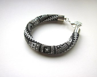Bracelet  - Beaded Crochet Bracelet - Chunky Bangle - Black/Grey/Silver/White - Beadwork - Evening Jewellery