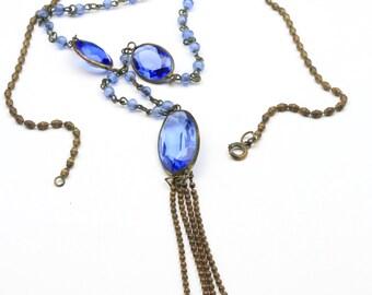 """Vintage Art Nouveau Blue Faceted Glass Necklace Long Chain Glass Bronze Bead 31"""""""