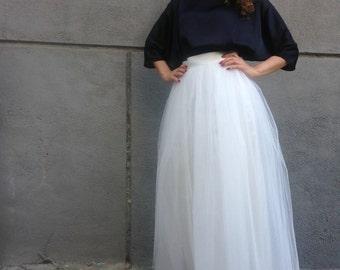 "Ivory Long Tulle Skirt, Women Tutu Skirt, Princess Skirt,  Wedding Skirt - – ""Choose to be me' / EXPRESS SHIPPING / MD10001"