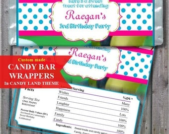 Candy Bar Wrappers for land of canfy Birthday Party Favor, Candy Land thank you gift  Candy Party, PRINTABLE Digital