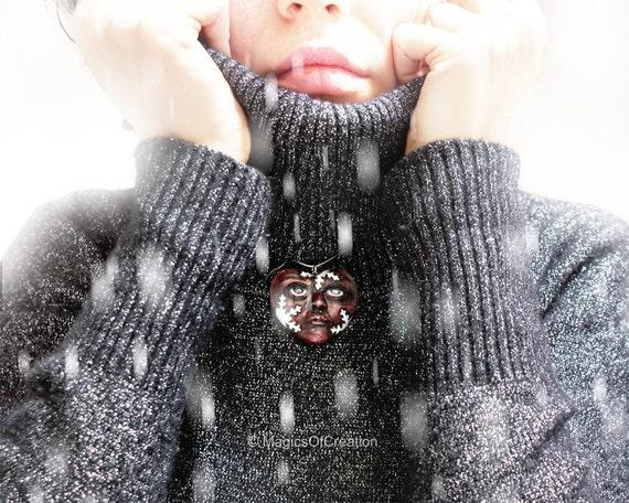 Love Is Winter, OOAK heart sculpture pendant, original art jewelry