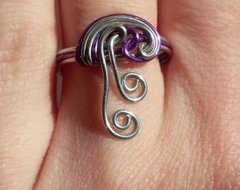 Purple Wire Ring, Wire Wrapped Ring, Wire Jewelry, Purple Wire, Wire Wrap, Purple Jewelry, Violet Ring, Wire Ring,  Spiral Wire Jewelry