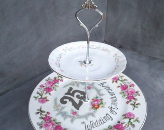 Pink Tiered Cake Stand, Dessert Stand, 25th Anniversary Plate, Anniversary Plate Stand, 2 Tier Cake Stand, Pink & Silver (Item# 000167)