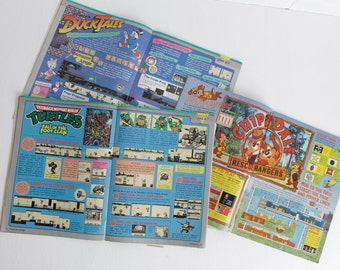 Vintage Set of 3 Nintendo Power Magazines, Missing Front Covers, Volumes 16 18 JulAug '90, Old School Retro Gaming or Gamer Gift, Papercraft