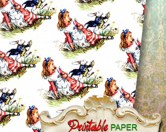 ALICE and RABBIT - Printable wrapping paper for Scrapbooking, Creat - Download and Print