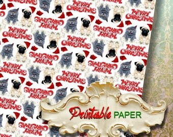 CHRISTMAS DOG CAT - Printable wrapping paper for Scrapbooking, Creat - Download and Print