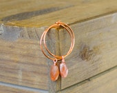 Copper and Natural Sunstone Hoop Earrings
