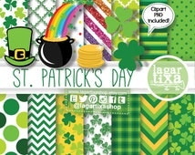 St. Patrick's Day Digital Paper and Clip art, clipart Images, Ireland, Shamrock, Rainbow, Lucky, Good Luck, Pot of gold, celtic, scrapbook