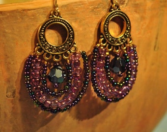 Iridescent Plum Handmade Seed Bead Earrings