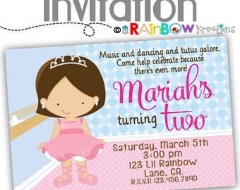 070: DIY - Tutu Ballerina 3 Party Invitation Or Thank You Card