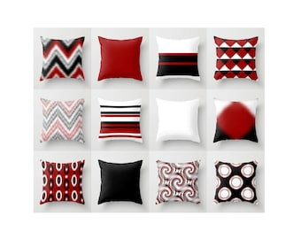 Decorative Pillow Covers, Black Red Pillows, Throw Pillow Covers, Home Decor, Cushion Covers, Accent Pillows, Mix and Match