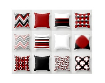 Astounding Red Black Pillow Etsy Largest Home Design Picture Inspirations Pitcheantrous