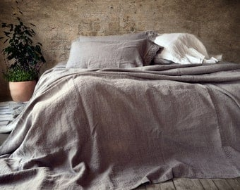Rustic Rough Heavy Weight Stonewashed Linen Bed Cover/ Bedspread/ Coverlet/ Natural flax colour