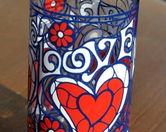 Love Stained Glass Heart Design Tastee-Freez Drinking Glass - Valentine's Day
