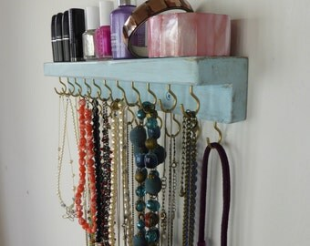 Necklace holder with silver/golden hooks - jewelry storage - shabby chic aqua blue - wall hanging distressedwood - many colors available!