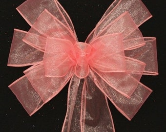 Coral Sheer Wedding Pew Bows -  Church Aisle Decorations, Wedding Chair Bows