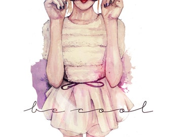 BE COOL,fashion illustration print