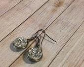Silver Druzy Earrings, Metallic Druzy Dangle Earrings, Quartz Jewelry, Geometric Jewelry, Silver Dangle Earrings, Gypsy Earrings, Bohemian