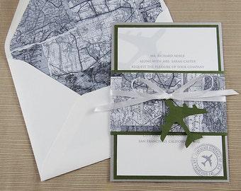 Travel Theme Invitation - Travel Map Wedding Invitation - Black and White Invitation
