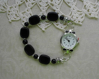 BOW TIES WATCH with Basic Black Beaded Interchangeable Watch Bracelet for Formal or Casual Wear (50027)