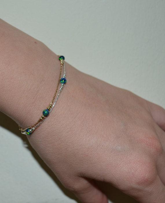 Elegant Blue Green Opal bracelet, Opal Jewelry, opal bead bracelet, opal silver bracelet, simple tiny dot/ball bracelet