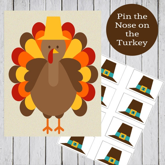 Thanksgiving Printable Game - Pin the Hat on the Turkey - Instant Download - Easy to Print PDF - Great for School and Party!