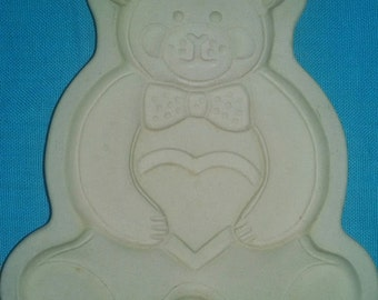 SALE * Vintage 1991 Pampered Chef Teddy Bear Cookie Mold Press Baking Stoneware Cutter
