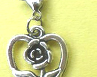 Dangle Heart with Rose Silver for Bracelets, Floating Charm Pendants, Necklaces & Key  D016