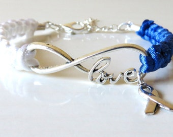 ALS Lou Gehrigs Disease Awareness LOVE Ribbon Charm Bracelet Optional Hand Stamped Alphabet Letter Charm