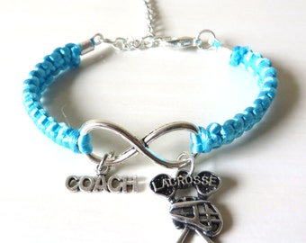 Lacrosse Coach Athletic Charm Infinity Bracelet Coach Charm You Choose Your Cord Color(s)