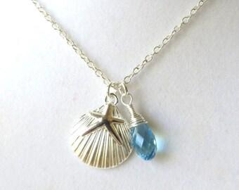 Beach Lovers Starfish Scallop Shell Aquamarine Crystal Cruise Boho Vacation Ocean Necklace