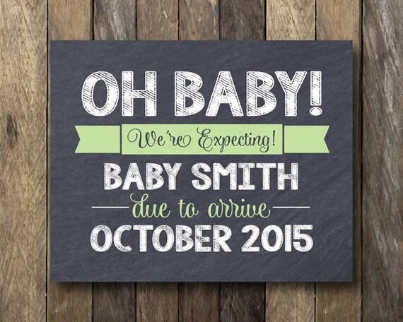 Pregnancy Announcement Card: Printable Pregnancy Announcement Pregnancy Reveal Sign
