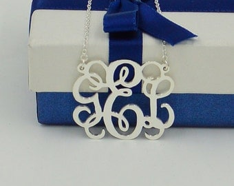 Monogram necklace sterling silver,1.25 inch Personalized silver monogrammed gifts,Christmas gifts