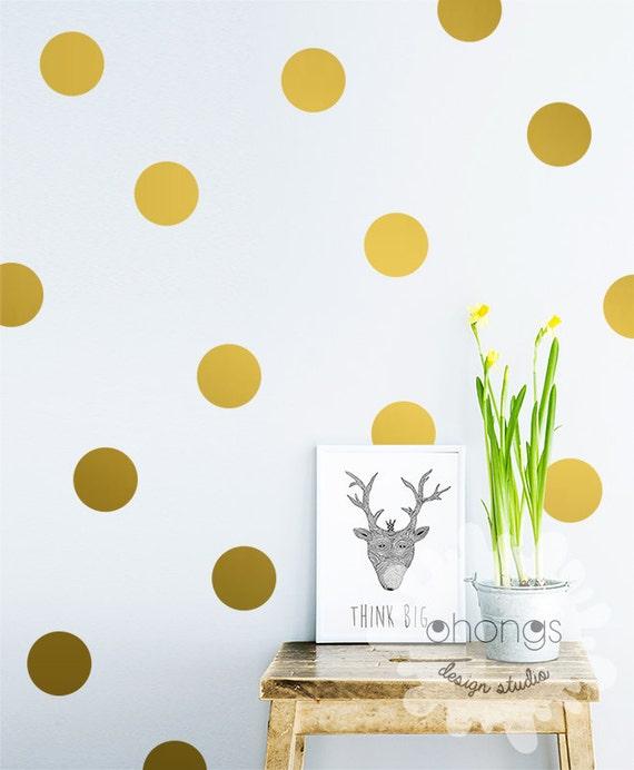 Polka Dot Wall Decal / Large Polka Dot Decal / Gold Polka Dot Decal ...