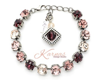 WARM TONES 8mm Crystal Chaton Bracelet Made With Swarovski Elements *Pick Your Finish *Karnas Design Studio *Free Shipping*