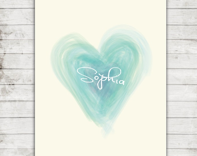 Personalized Name Nursery Art- Water Color Teal Heart- Printable JPEG file for 8x10 Print- #174