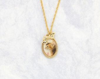 Furry Calico Cat Cameo necklace