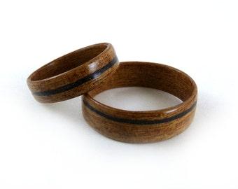 Wood Ring Set, Papyrus Wood Ring, Ebony Inlay, Wood Wedding Bands, Custom Wood Rings, Wood Engagement Rings, Wood Ring Pair, Wooden Rings