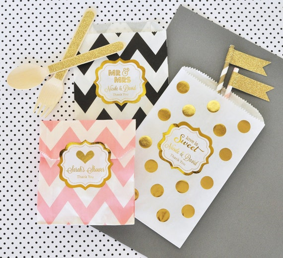 Paper Candy Bags - Wedding Favor Candy Bags -  Wedding Candy Buffet Bags - Wedding Favor Bags Bridal Shower Favor Bags (EB2358FW) set of 24