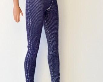 Barbie Denim leggings (white seam) -stretch denim leggings, barbie clothes, fashion doll clothes, white seam jeans