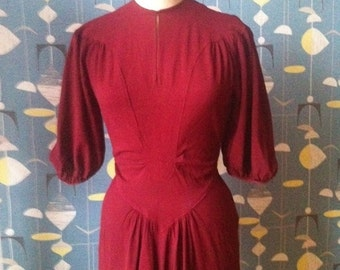 Unique 30s 40s crepe dress burgundy