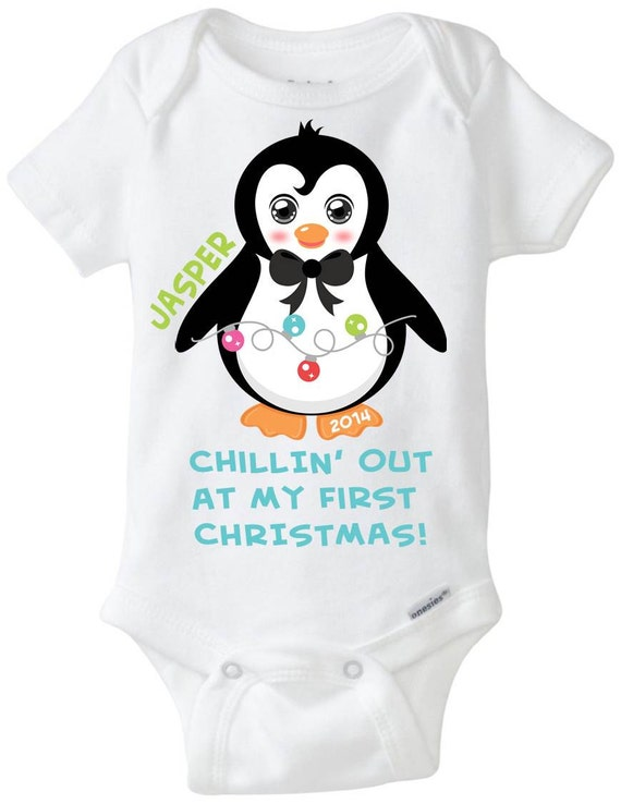 My First 1st Christmas Baby Boy Onesie by LittleFroggySurfShop