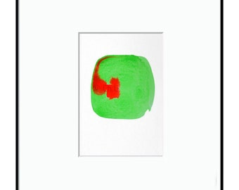 Small abstract original watercolor, red abstract heart in a green square, Abstract minimalist watercolor, ChG