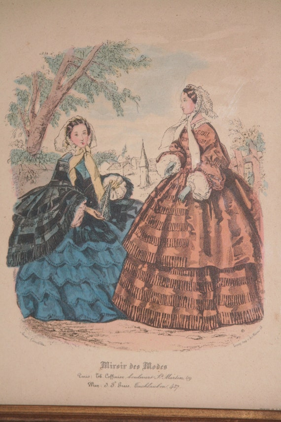 Miroir des modes print fashion print hand colored print for Miroir venitien paris