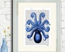 Blue Octopus 1, underside - Octopus picture Giant squid art ocean art Octopus décor kraken print octopus nursery decor kids room art