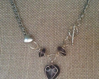 Purple and Silver Heart Beads Necklace