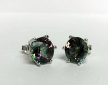 "3/8"" Estate Sterling Silver 925 Mystic 4cts Gemstone Alexandrite Earrings Studs Stunning"